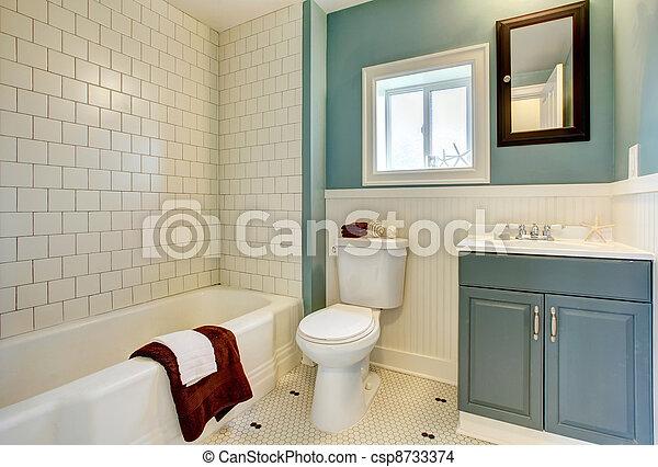 Stock Foto   Blaues, Badezimmer, Klassisch, Remodeled, Neu , Weißes, Tile.