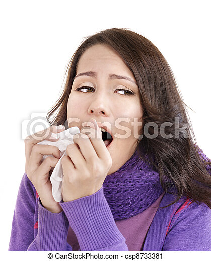 Young woman with handkerchief having  cold. - csp8733381
