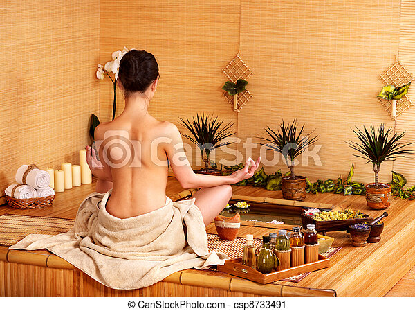 Bamboo massage at spa . - csp8733491