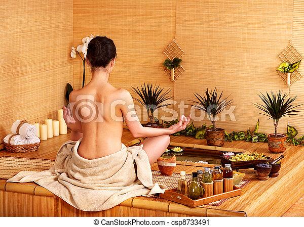Bamboo massage at spa . - csp8733491