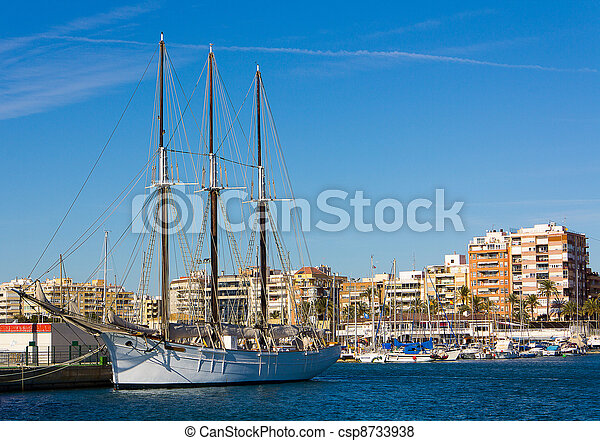 beautiful old wooden sailing ship with three masts - csp8733938
