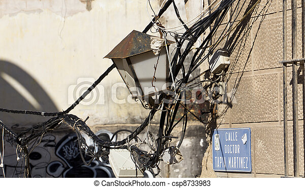 electric and telephone wires broken in an old house - csp8733983