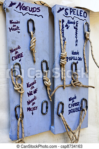 Stock Photos of Caving knots - Speleological rope knots used in a ...