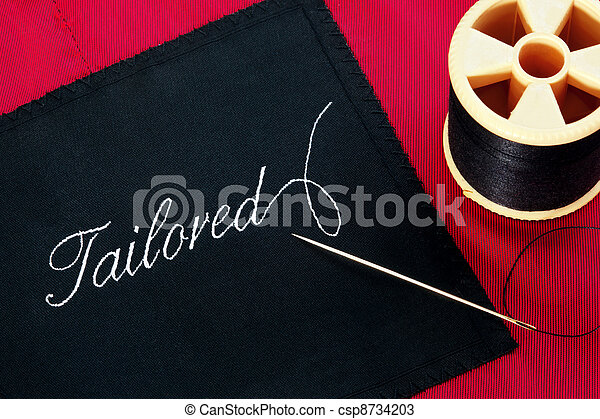 Tailored label on red silk lining - csp8734203