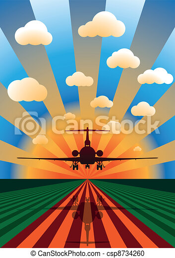 Vector Illustration of Airplane Landing at Sunset - csp8734260