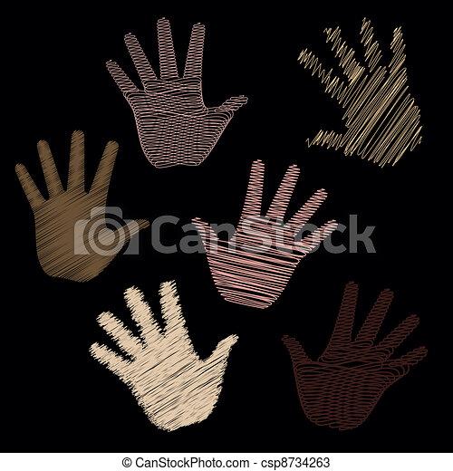 Six Scribbled Hands - csp8734263