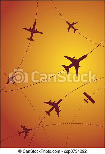 Airplane Routes at Sunset - csp8734292