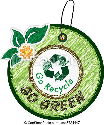 Vectors Illustration of Sketch label - Go green icon ...