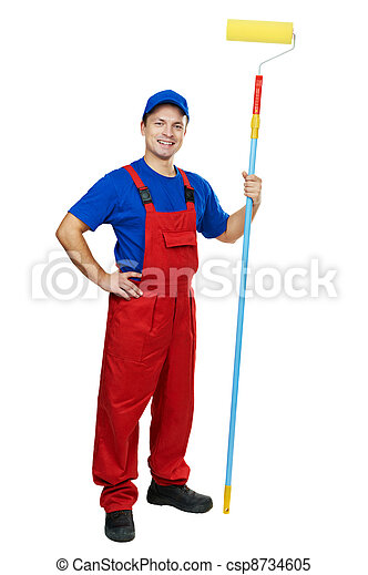 painter man in uniform with paint roller - csp8734605