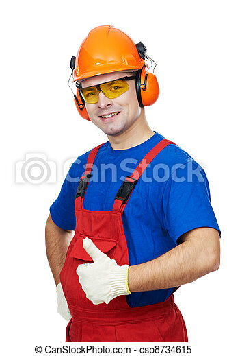 builder in hardhat, earmuffs, goggles and gas mask - csp8734615
