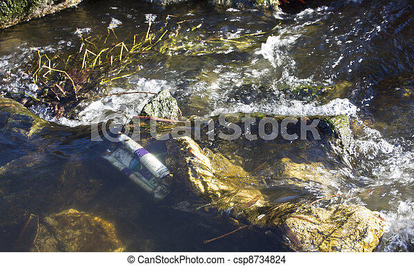 pollution of small rivers - csp8734824