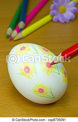Decorating Easter eggs - csp8735091