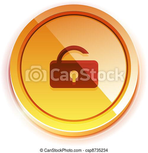 Glossy bright unlock button - csp8735234