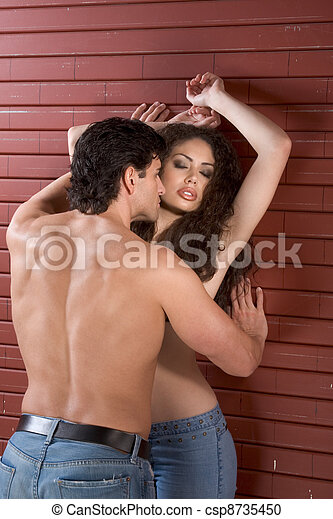 Young naked Man and woman in love are kissing - csp8735450