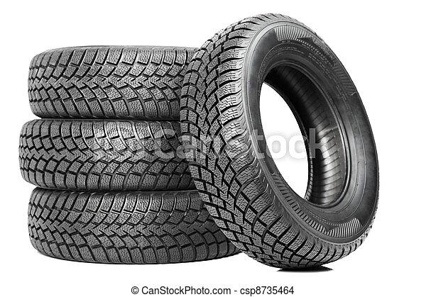 roue, quatre, hiver, voiture, isolé, Pneus, pile - csp8735464