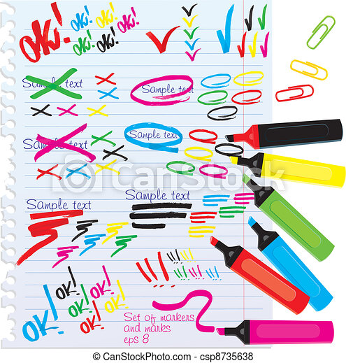 Set of different colors markers  - csp8735638
