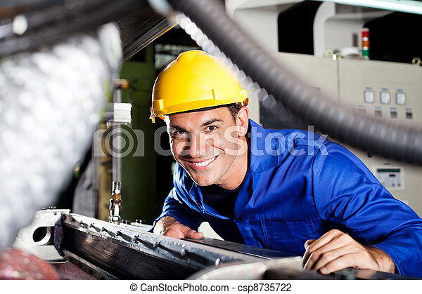 modern blue collar worker in factory - csp8735722