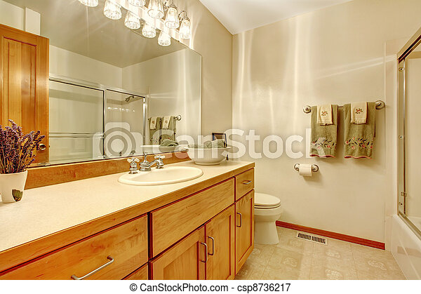 Outdated simple bathroom with wood cabinets, - csp8736217