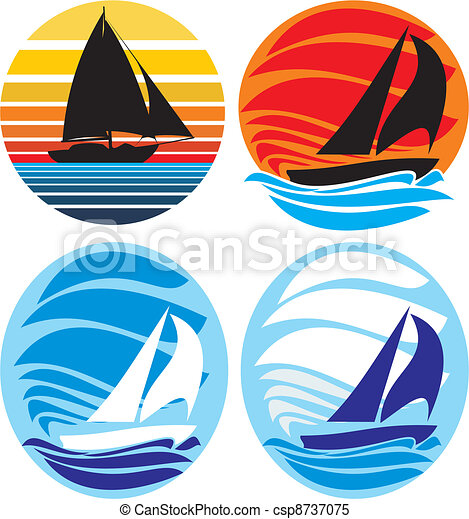 yacht and sailing - sea and sunset - csp8737075