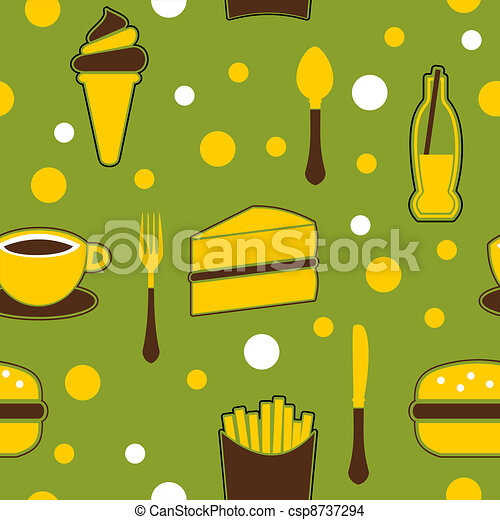 Seamless Junk Food Background - csp8737294