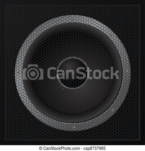 Black loudspeaker closeup - vector - csp8737985