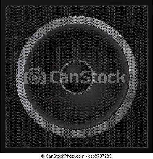 Black loudspeaker closeup - vector - csp8737985