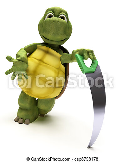 Tortoise with a wood saw - csp8738178