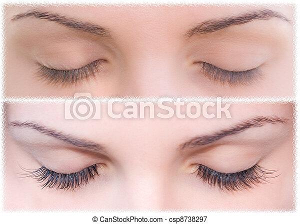Natural and false eyelashes before and after. - csp8738297