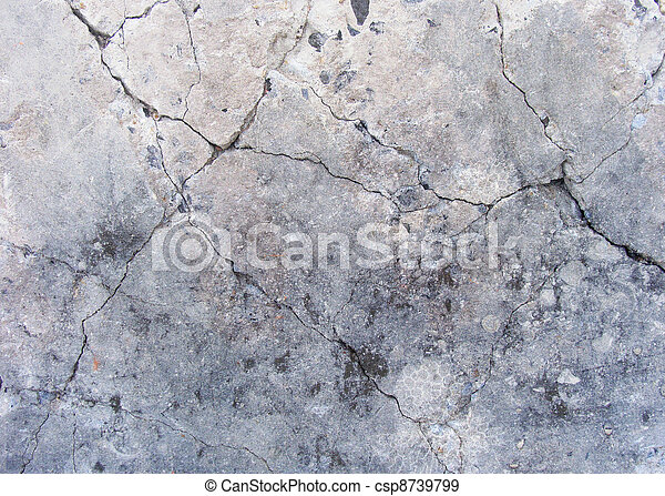 grunge damaged concrete wall surface in gray , beige and blue - csp8739799
