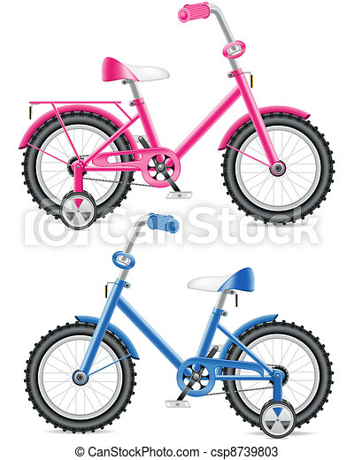 pink and blue kids bicycle - csp8739803
