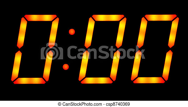 Digital clock show midnight - csp8740369