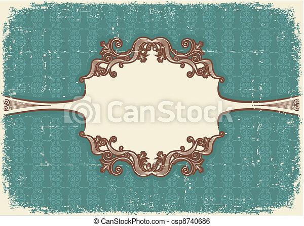 Abstract vintage frame with vignettes for text on old paper texture - csp8740686