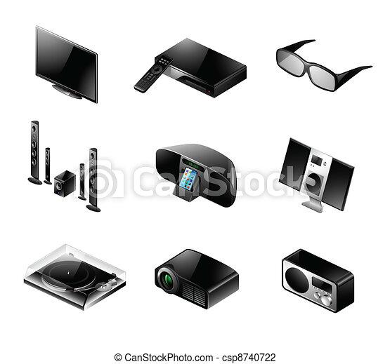 Electronics icon set - TV and audio - csp8740722