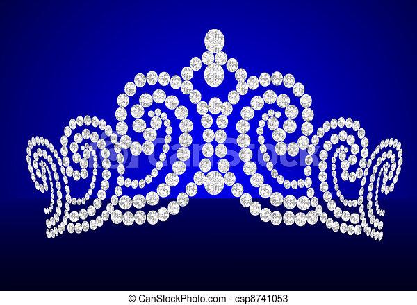 diadem feminine wedding on turn blue background - csp8741053