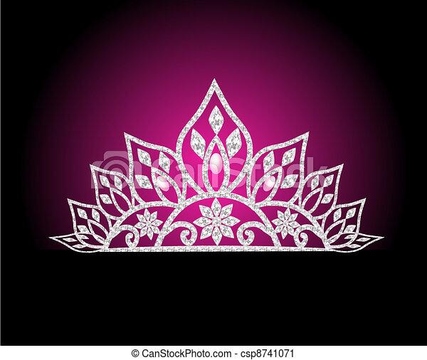 diadem feminine wedding with pearl on rose - csp8741071