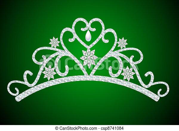 diadem feminine wedding with pearl on green - csp8741084