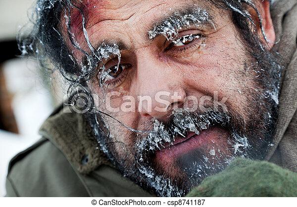 Homeless winter frozen face - csp8741187