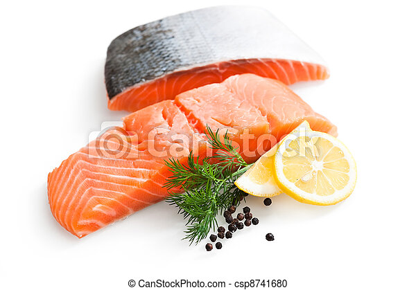 fresh salmon with parsley and lemon slices - csp8741680