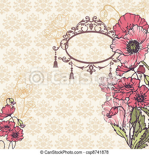 Vintage Poppy Background with place for your text - for your design, scrapbook in vector - csp8741878