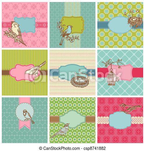 Set of Colorful Cards with Vintage Birds - for birthday, wedding, invitation  in vector - csp8741882