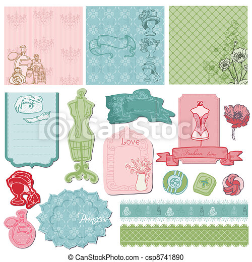 Scrapbook desgin Elements - Retro Fashion Set in vector - csp8741890