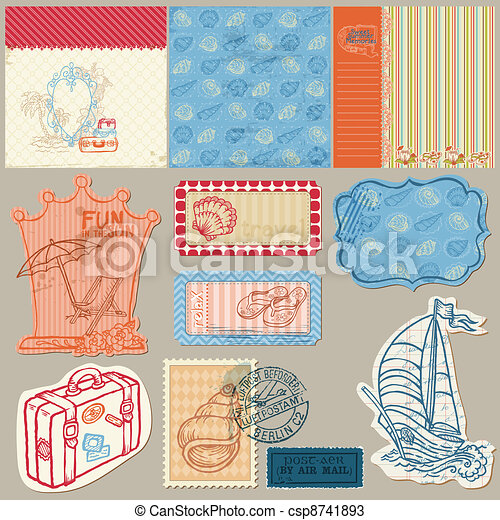 Summer seaside doodles - Hand drawn collection in vector - csp8741893