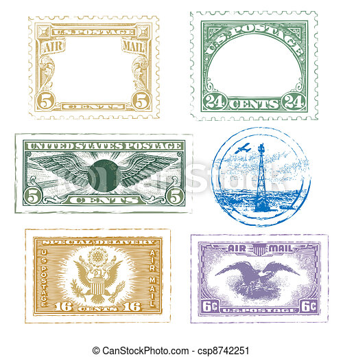Air Mail Stamps Icon Set - csp8742251