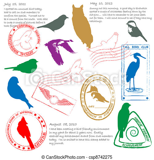 Bird Watching Stamps Icon Set - csp8742275