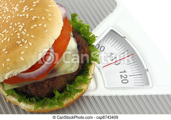 Burger on a weight scale - csp8743409