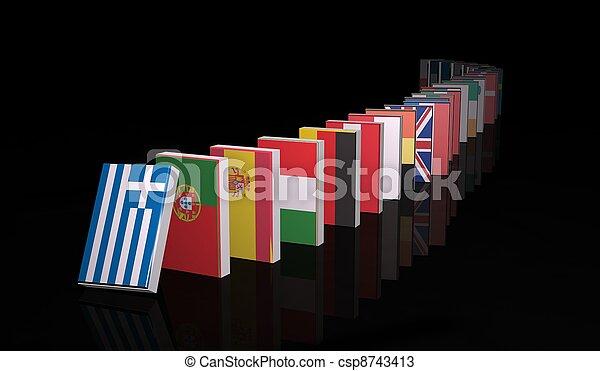 European crisis 3d domino - csp8743413