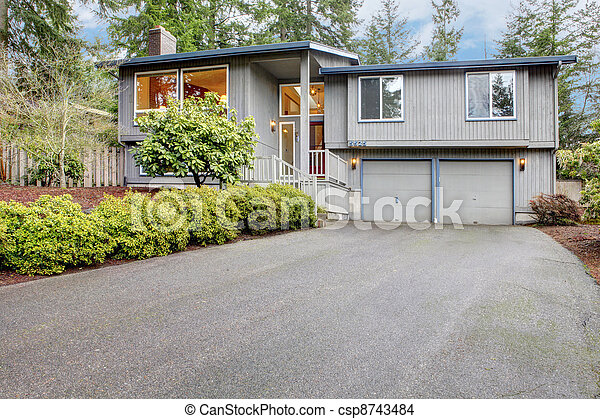 Simple grey brown split level American House. - csp8743484