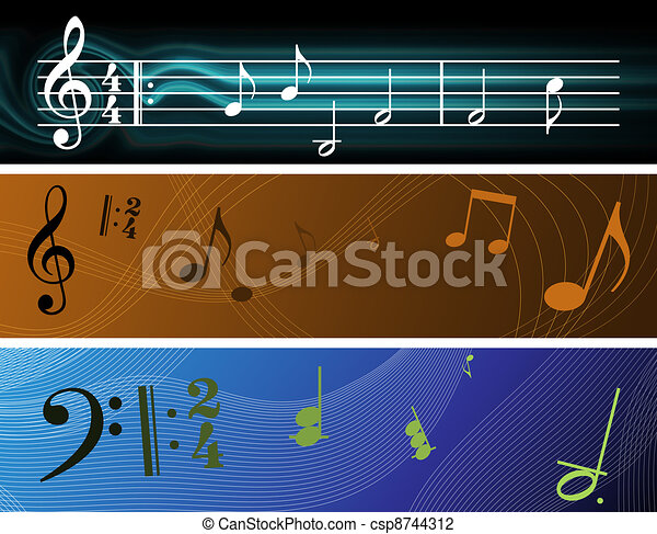 Clip Art of Musical Banners - Three Music Inspired ...