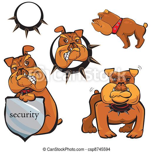 Set of Bulldog cartoons - csp8745594