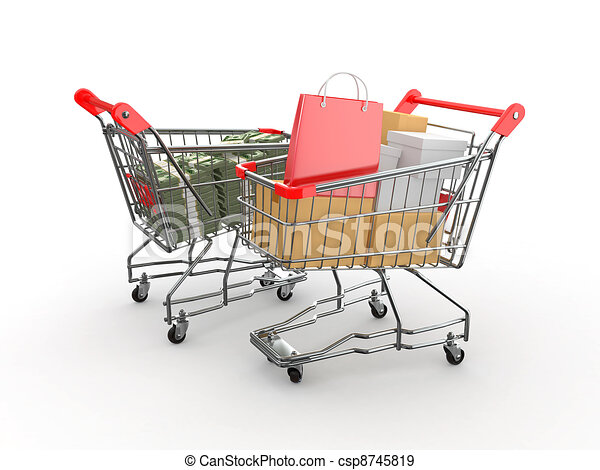 Consumerism. Purchase of goods for money. Shopping cart with boxes and dollars. 3d - csp8745819